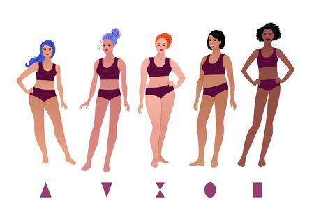 Vector set of body-positive female body types