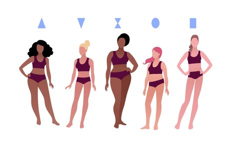 Vector illustrations collection of multiethnic characters body-positive female body types isolated on white background.  イラスト・ベクター素材