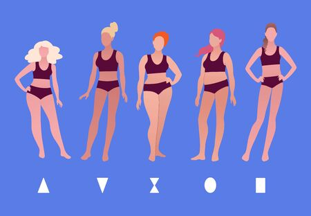Vector illustrations collection of female body types isolated on blue background.