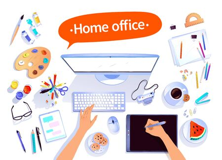 Home office concept vector illustration Illustration