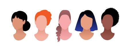 Vector illustration set of female profile pictures