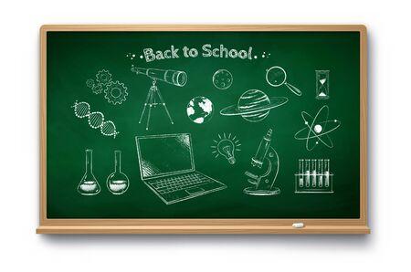 Education objects on chalkboard background