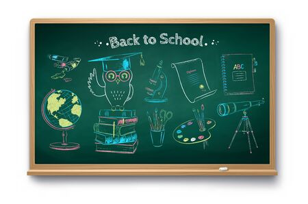 Education objects on chalkboard background