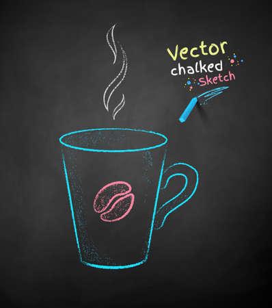Chalk drawn illustration of coffee cup