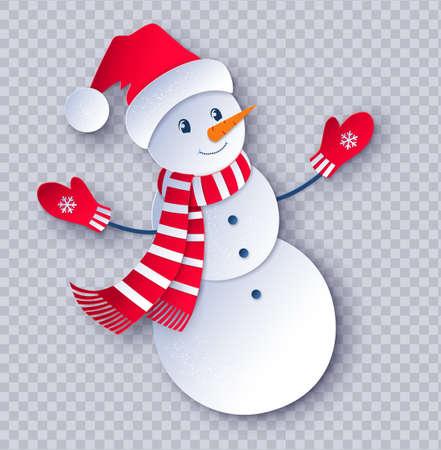 Paper cut illustration of Snowman Vektorgrafik