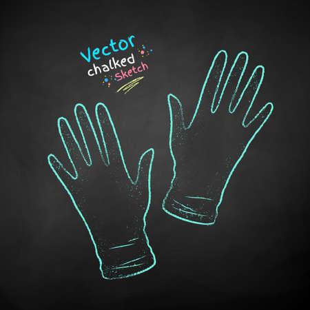 Chalk drawn rubber gloves Vektorové ilustrace