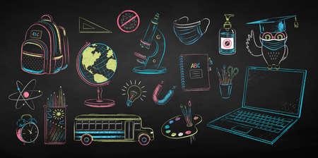 Chalk drawn new normal education set