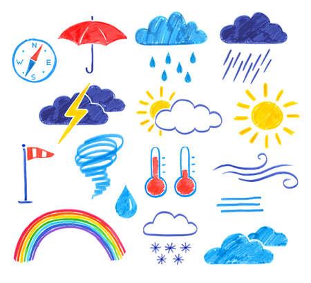Felt pen weather icons set