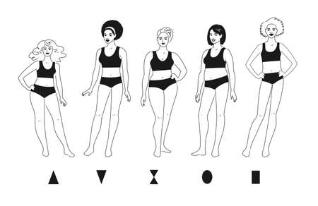 Body positive female characters Illustration