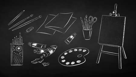 Illustration set of art students supplies