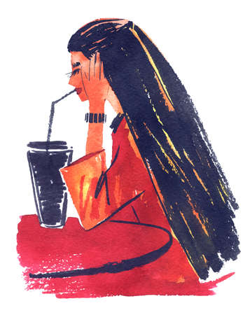 Woman in cafe hand drawn sketch Vetores