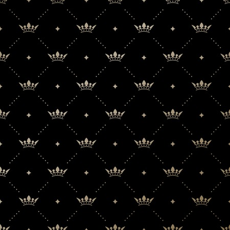 Seamless vector gold pattern with king crowns on a black background Vector