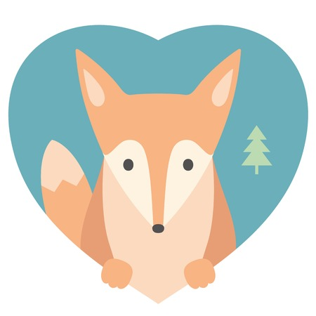 Animal set. Portrait of a fox in love in flat graphics over a heart backdrop