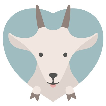 goat: Animal set. Portrait of a goat in love in flat graphics over a heart backdrop