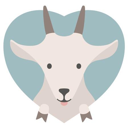 macho cabrio: Conjunto del animal. Retrato de una cabra en el amor en gr�ficos planas sobre un tel�n de fondo del coraz�n Vectores