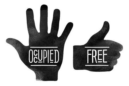 manos abiertas: Señales de navegación. Siluetas de manos negras con las palabras Occupited y gratuito