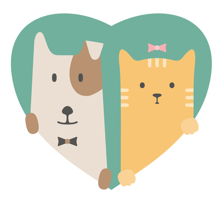 dogs: Animal set. Portrait of a dog and cat in love over heart backdrop. Flat graphics Illustration