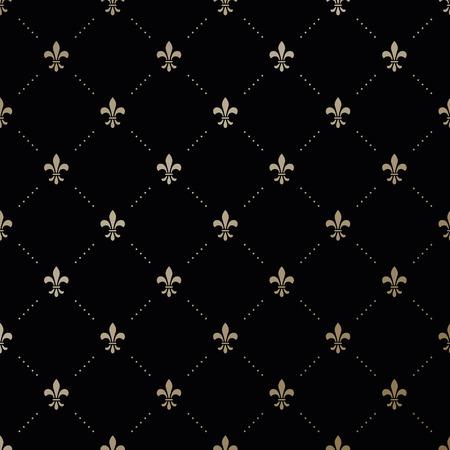 黒の背景にアヤメとシームレスなベクトル ゴールド パターン