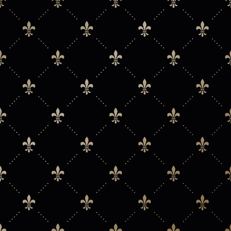 fleur de lis: Seamless vector gold pattern with Fleur-de-lis on a black background