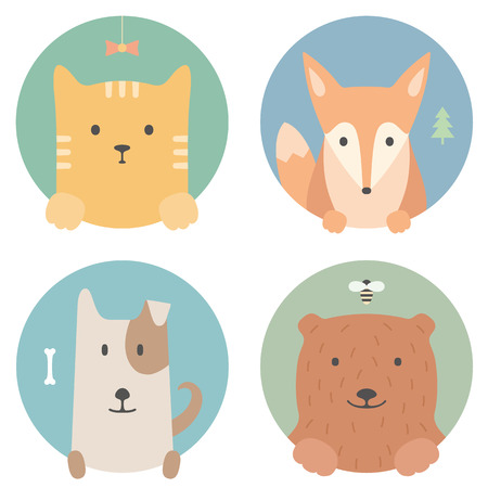 funny cats: Animal set. Portrait in flat graphics - cat, fox, dog and bear