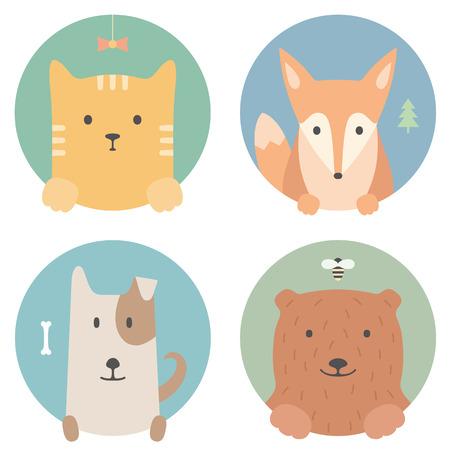 kotów: Zestaw zwierząt. Portret w płaskich grafiki - Kot, lisa, psa i niedźwiedzia Ilustracja