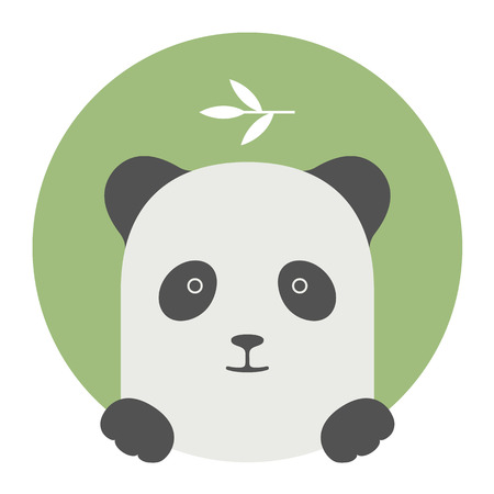 Animal set. Portrait in flat graphics. Panda