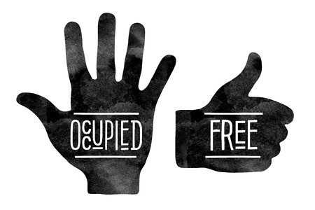 slowdown: Navigation signs. Black hand silhouettes with the words Occupied and Free