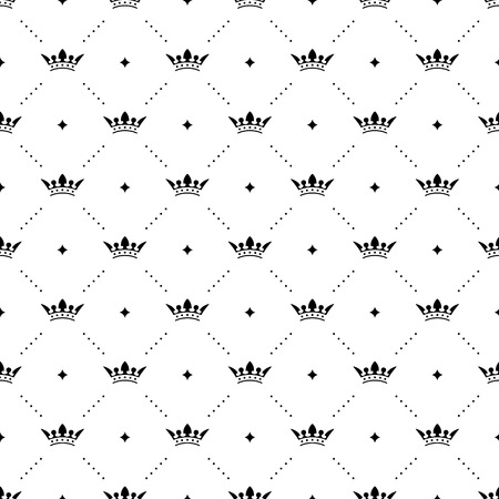 Seamless vector black pattern with king crowns on a white background Vector