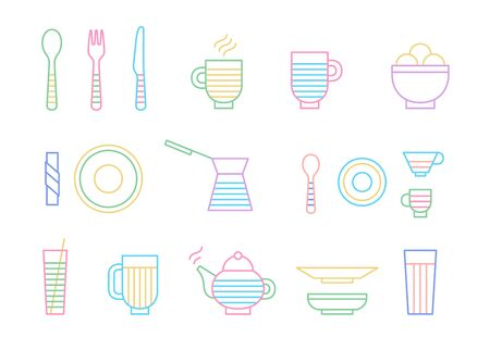 Food and dinnerware set of icons in line vector graphics. Spoon, fork, knife, cup, plate, glass, cezve, teapothot beverage and ice-cream