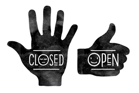 Navigation signs. Hand silhouettes in black. Stop hand with the word Closed and thumb up with the word Open Vector