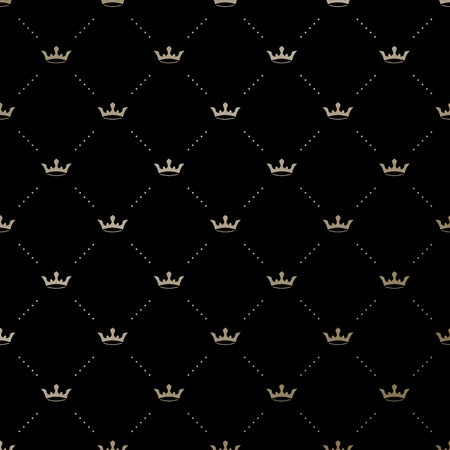Seamless vector gold pattern with king crowns on a black background