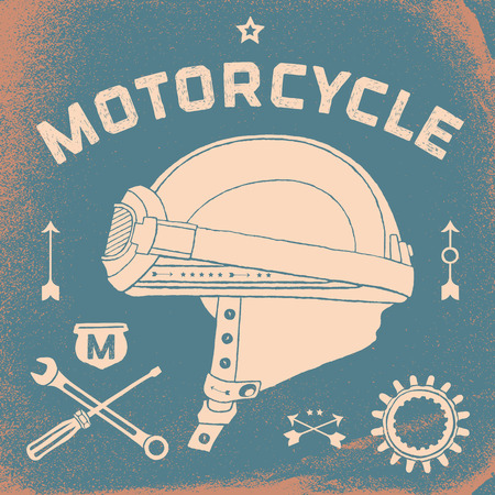 racer flag: Vintage race motorcycle for printing. Vector old school race poster. Retro race motorcycle set Illustration