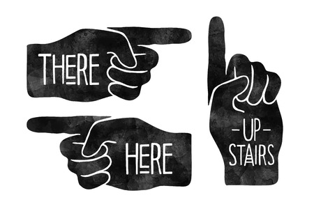 hand drawn: Navigation signs. Black hand silhouettes with pointing finger Illustration