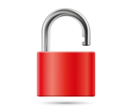 safety lock: Realistic padlock illustration. Closed red lock security icon isolated on white
