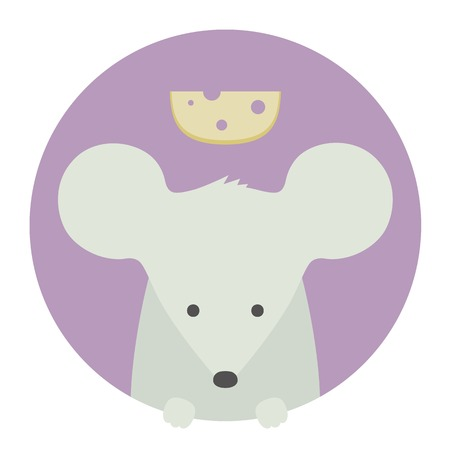 mouse: Animal set. Portrait in flat graphics. Mouse