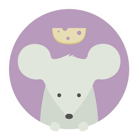 myszy: Zestaw zwierząt. Portret w płaskich grafiki. Mysz Ilustracja
