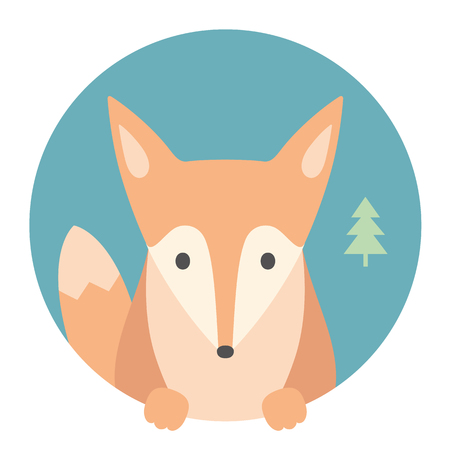 animal fox: Animal set. Portrait in flat graphics. Fox