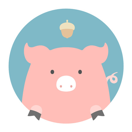 sowing: Animal set. Portrait in flat graphics. Pig