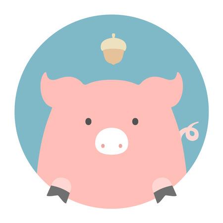 PIGGY: Animal set. Portrait in flat graphics. Pig