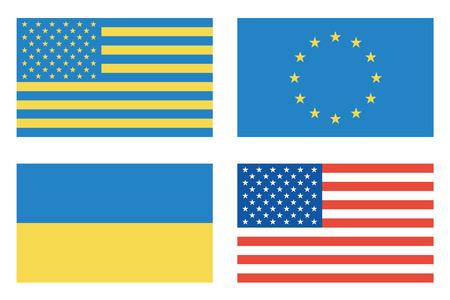 Flags of countries. USA, Ukraine, European Union. Vector illustration Ilustrace