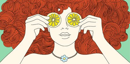 Portrait girl with curly red hair, covered her eyes with lemon. Vector illustration