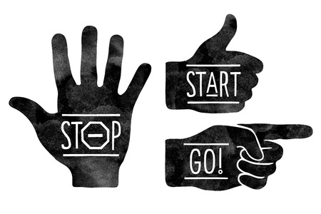 pointing at: Navigation signs. Black hands silhouettes - pointing finger, stop hand and thumb up. Stop, Start, Go