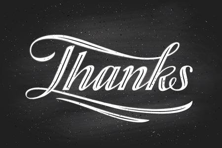 typography signature: Letras de la mano Gracias -Gracias usted- en el fondo pizarra. Caligraf�a para el D�a de Acci�n de Gracias