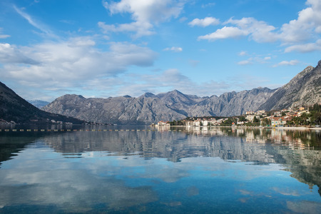 balkan peninsula: The view over the bay of Kotor in Montenegro, the Balkan peninsula Stock Photo