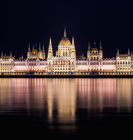 Parlament: The building of the Budapest Parlament at night from the Buda side of the city