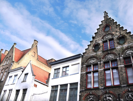 flanders: Medieval houses in Bruges town, West Flanders, Belgium (look-up) Stock Photo