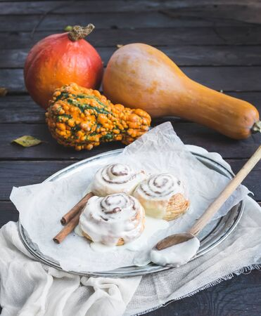 white backing: Cinnamon pumpkin buns with creamy cheese icing and ripe pumpkins over a dark wood background, selective focus Stock Photo