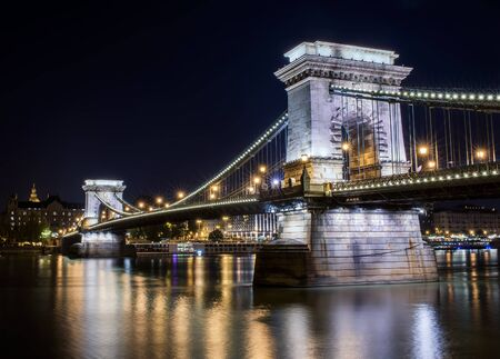 chain bridge: The view of Chain bridge and the Danube from the Buda side at night, Budapest, Hungary