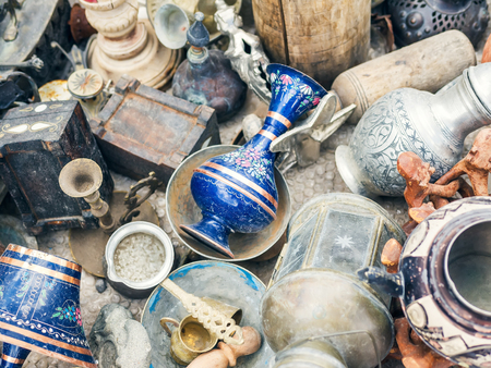 antique vase: Turkish antiquities at the flee-market in Cappadocia, Central Turkey