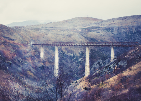 tare: The highest railway bridge in Europe near Kolasin crossing the canyon of Tara river (Kanjon rijeke Tare) in Montenegro, the Balkans